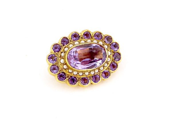 A fine 18 carat gold amethyst and pearl brooch
