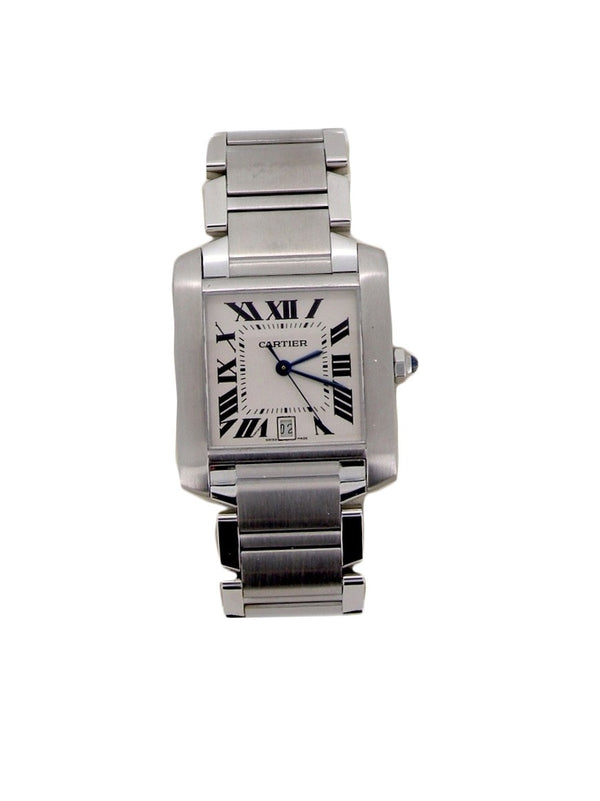 A unisex steel Cartier wrist watch