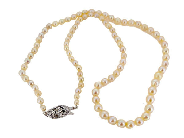 A single graduated row of cultured pearls