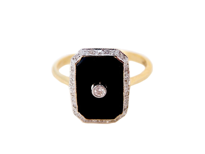 An Art Deco style onyx and diamond ring-REDUCED SAVE £150 ON THIS RING!