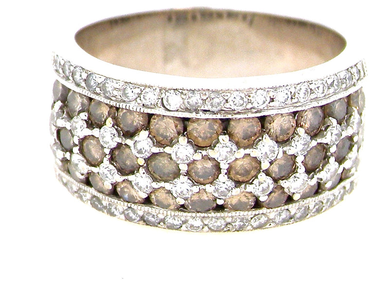 A half hoop ring set with white and cognac coloured diamonds- NOW ON OFFER!