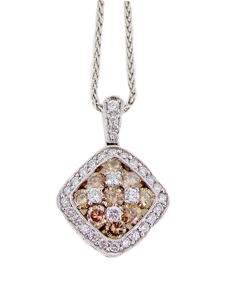 A fabulous champagne and white diamond pendant-REDUCED