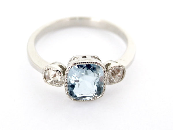 A three stone aquamarine and diamond ring *RESERVED*