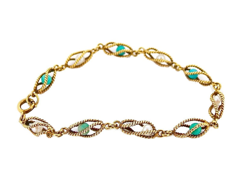 A 9 carat gold turquoise and pearl cage style bracelet