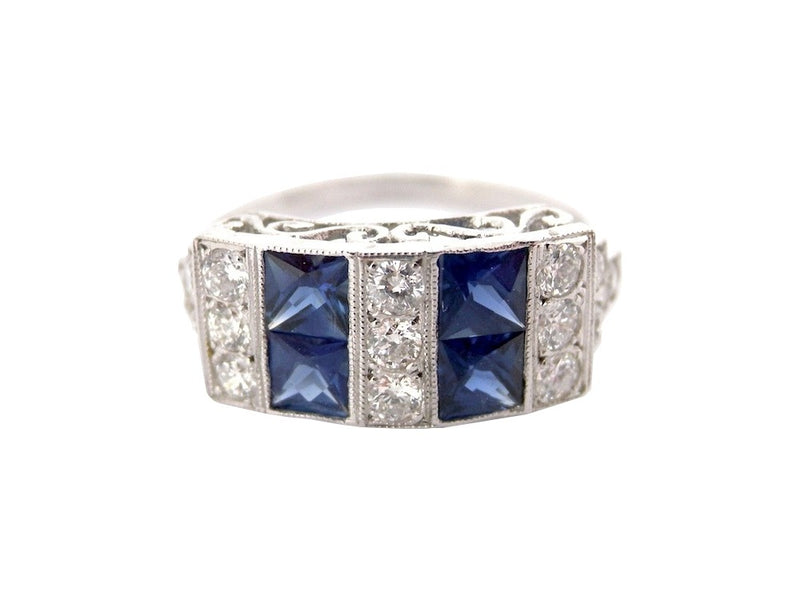 An Art Deco (style) sapphire and diamond ring