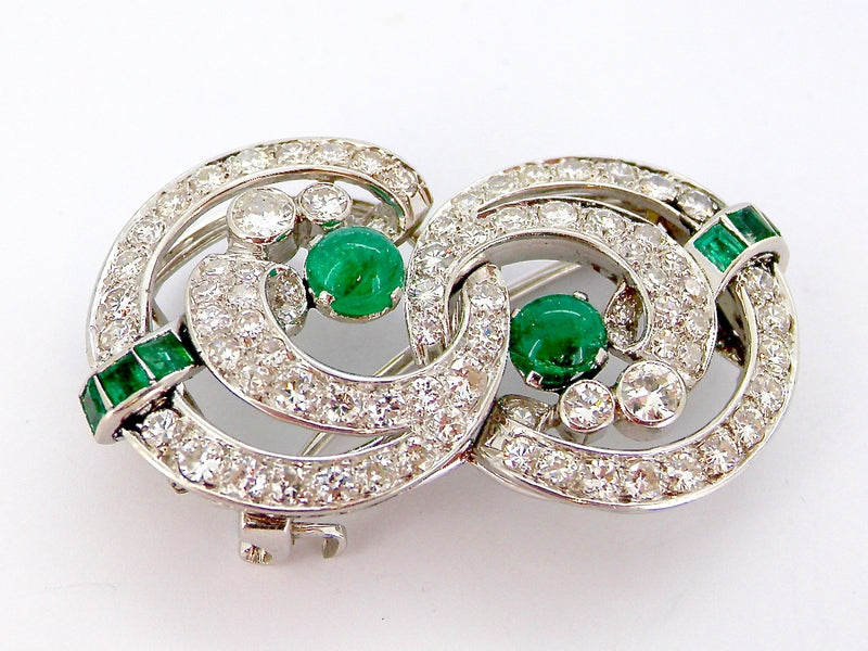 An Art Deco emerald and diamond brooch.*RESERVED*