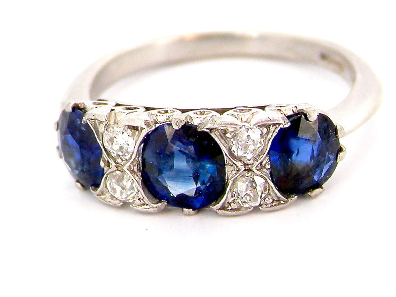 A platinum diamond and sapphire ring