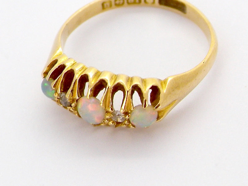 An antique opal and diamond ring