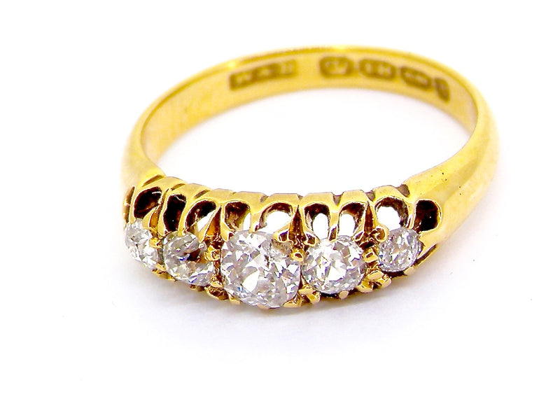 An antique boat shaped diamond ring