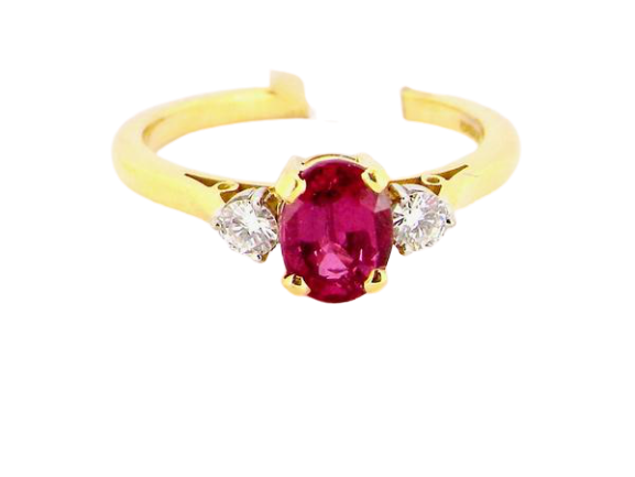 A fine 18 carat gold ruby and diamond three stone ring