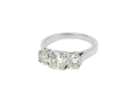 A fine three stone platinum diamond  ring 1.58 carats