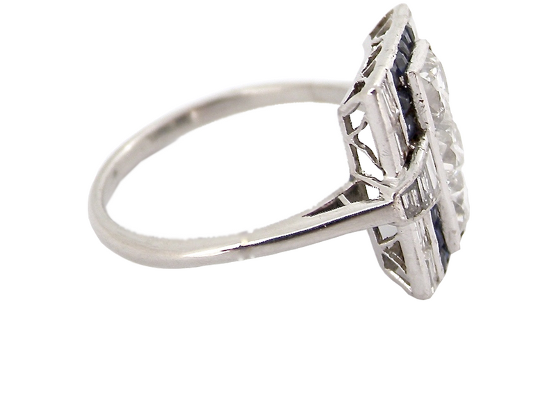 A fabulous Art Deco sapphire and diamond ring