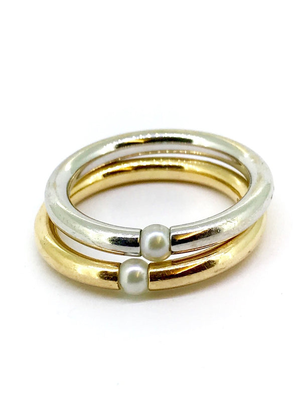 A pair of 18 carat gold stackable rings