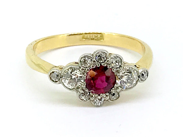 An Edwardian ruby and diamond cluster ring-RESERVED