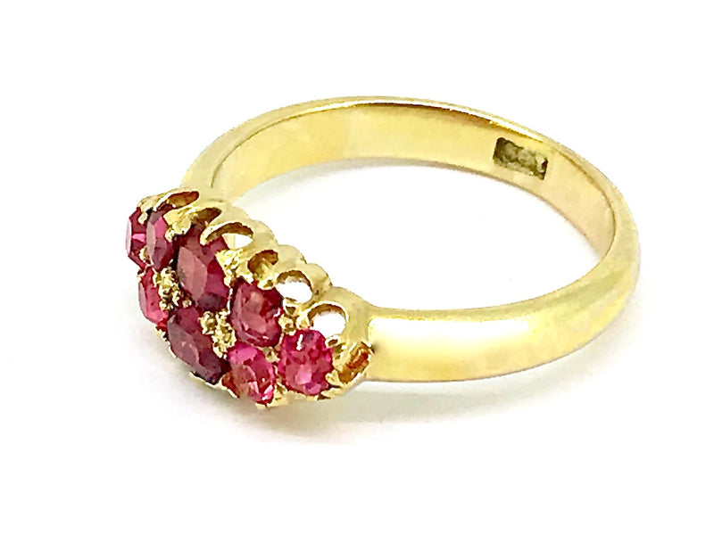 An antique 18 carat gold ruby cluster ring