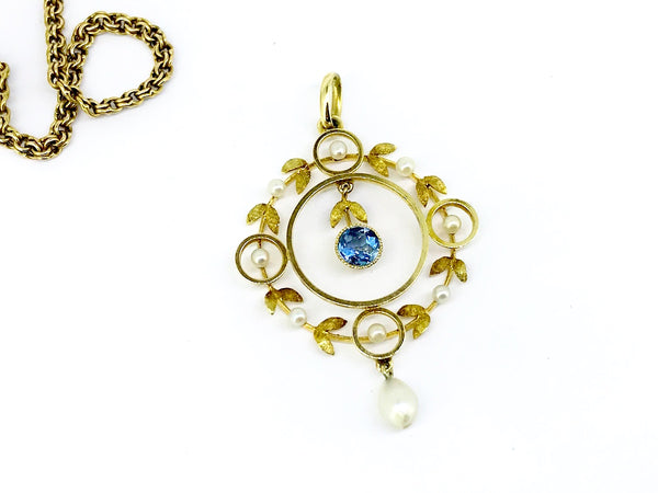 A Victorian aquamarine and pearl pendant