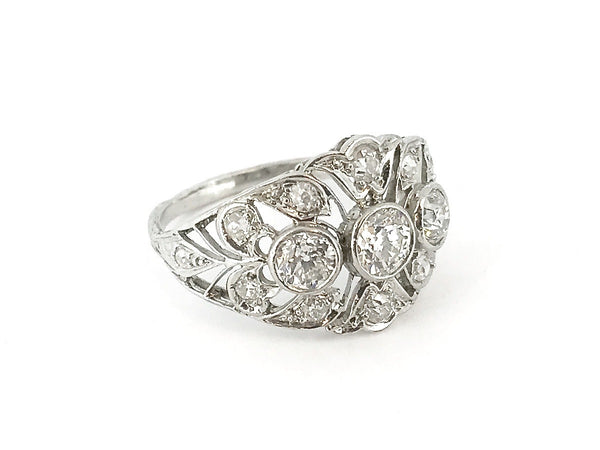 A fine platinum Edwardian diamond cluster ring *RESERVED*