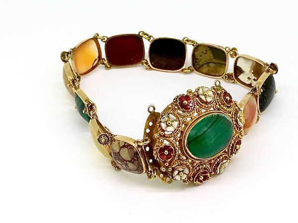 A highly unusual gold stone set bracelet *RESERVED*