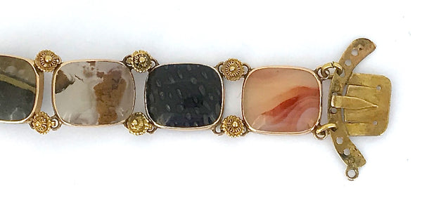 A highly unusual gold stone set bracelet