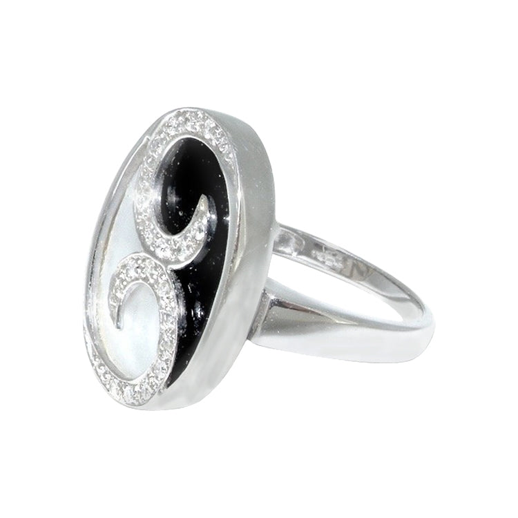 An onyx, mother of pearl and diamond ring-NOW REDUCED