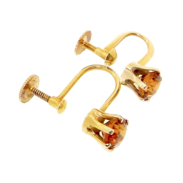 A pair of citrine screw fitting earrings