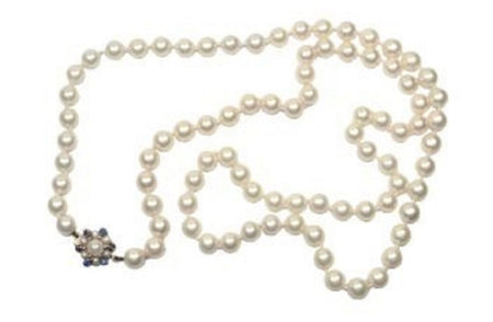 A single row of cultured pearls
