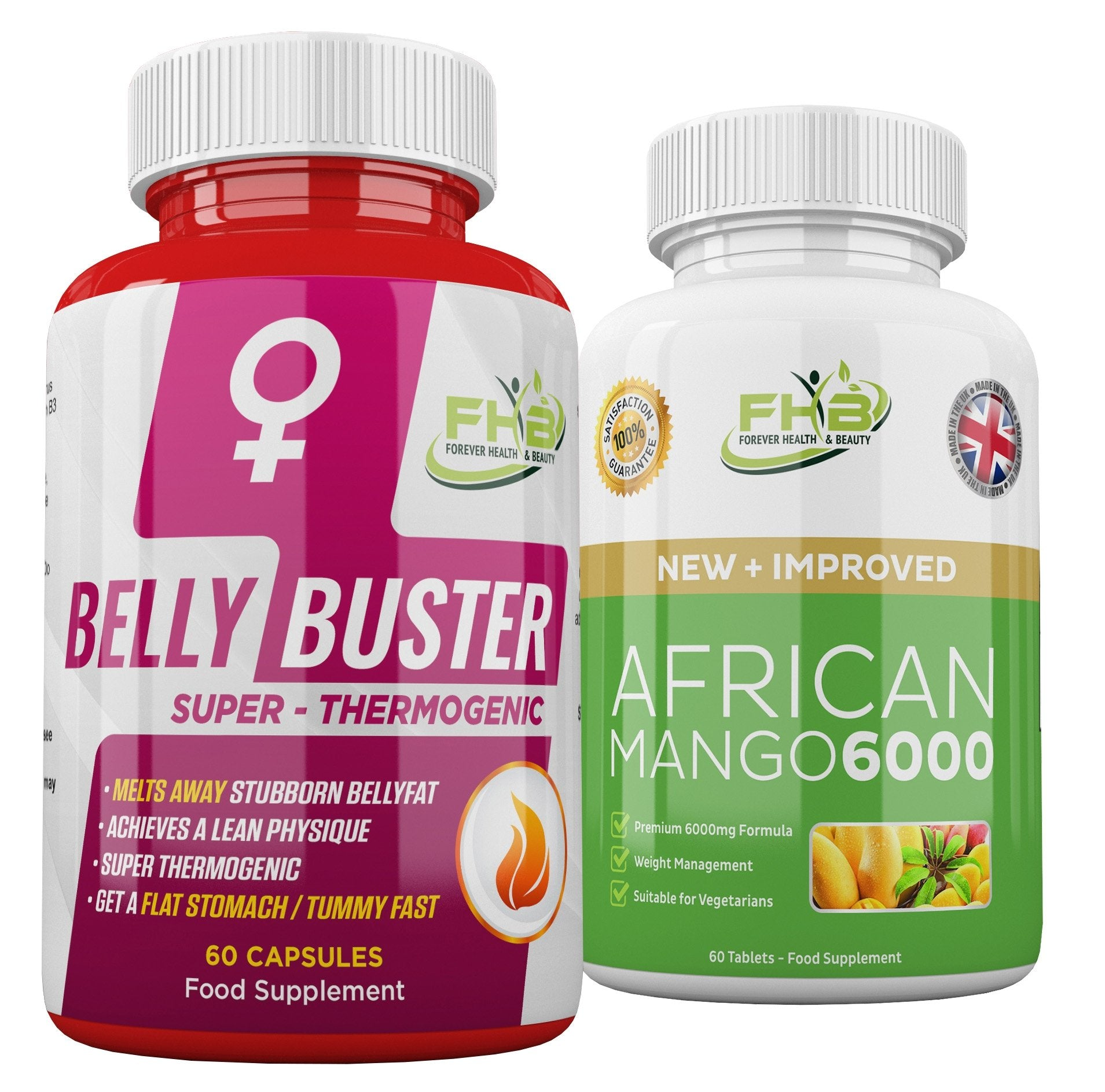 Belly Buster For Women & African Mango 6000 Combo - 120 Capsules