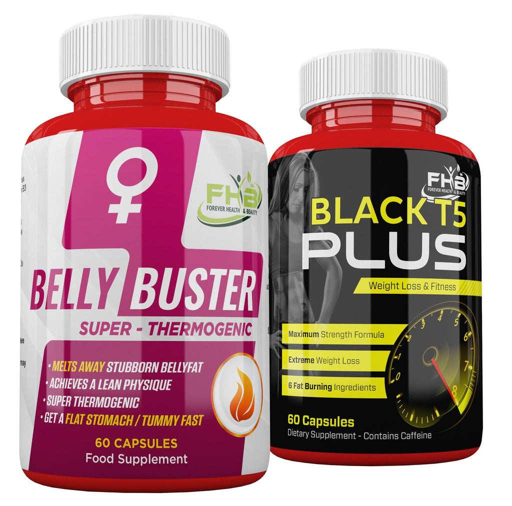 Belly Buster For Women & Black T5 Plus Combo - 120 Capsules