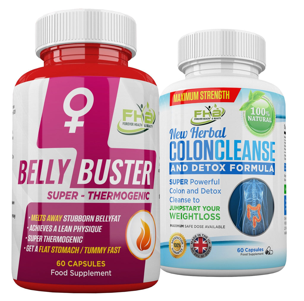 Belly Buster For Women & Colon Cleanse Combo - 120 Capsules