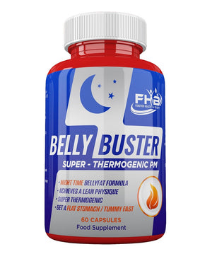 Belly Buster Night - Super Thermogenic PM - Melts Away Stubborn BellyFat - 60 Capsules