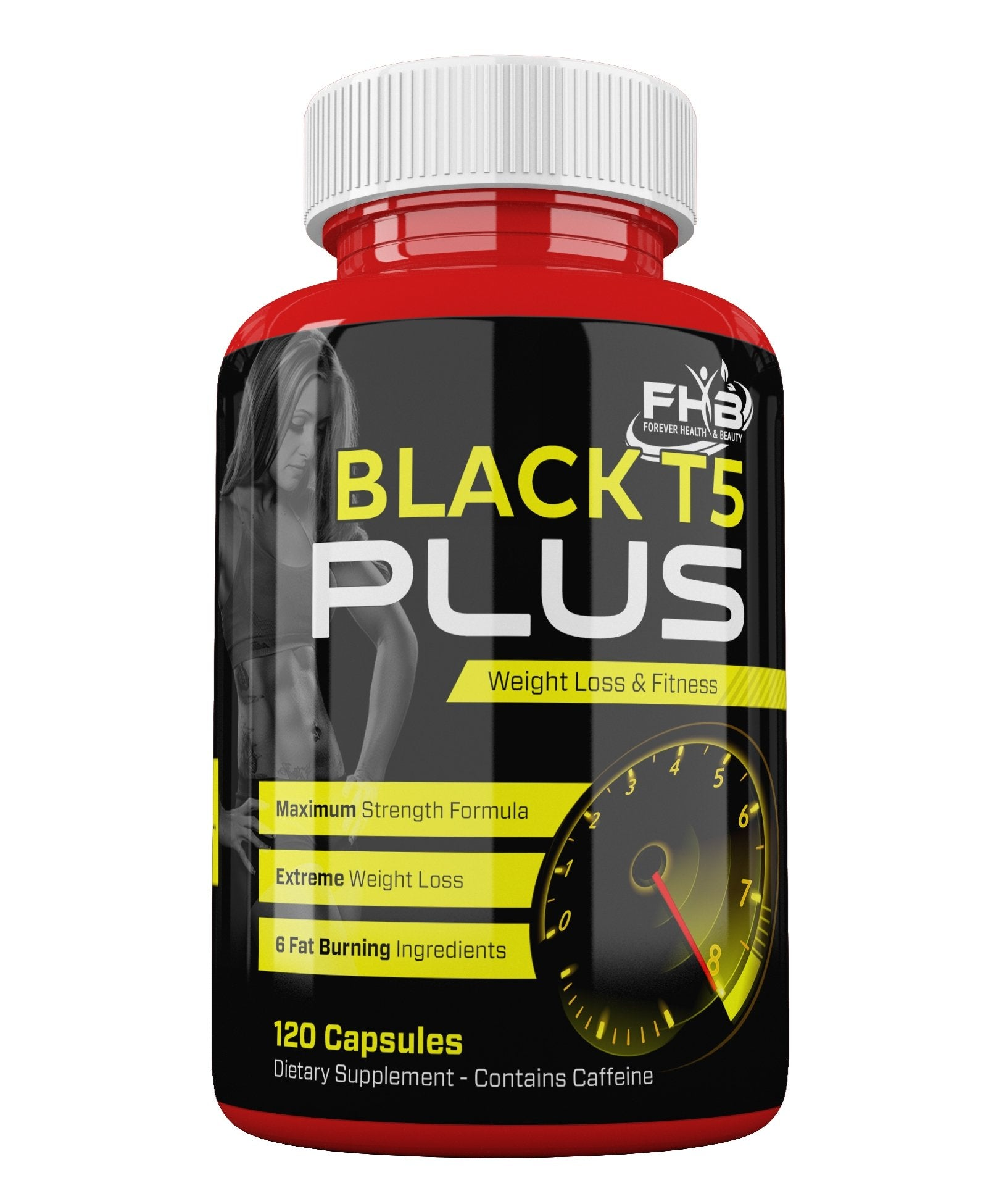 Black T5 Plus Weight Loss & Fitness Maximum Strength Formula - 120 Capsules