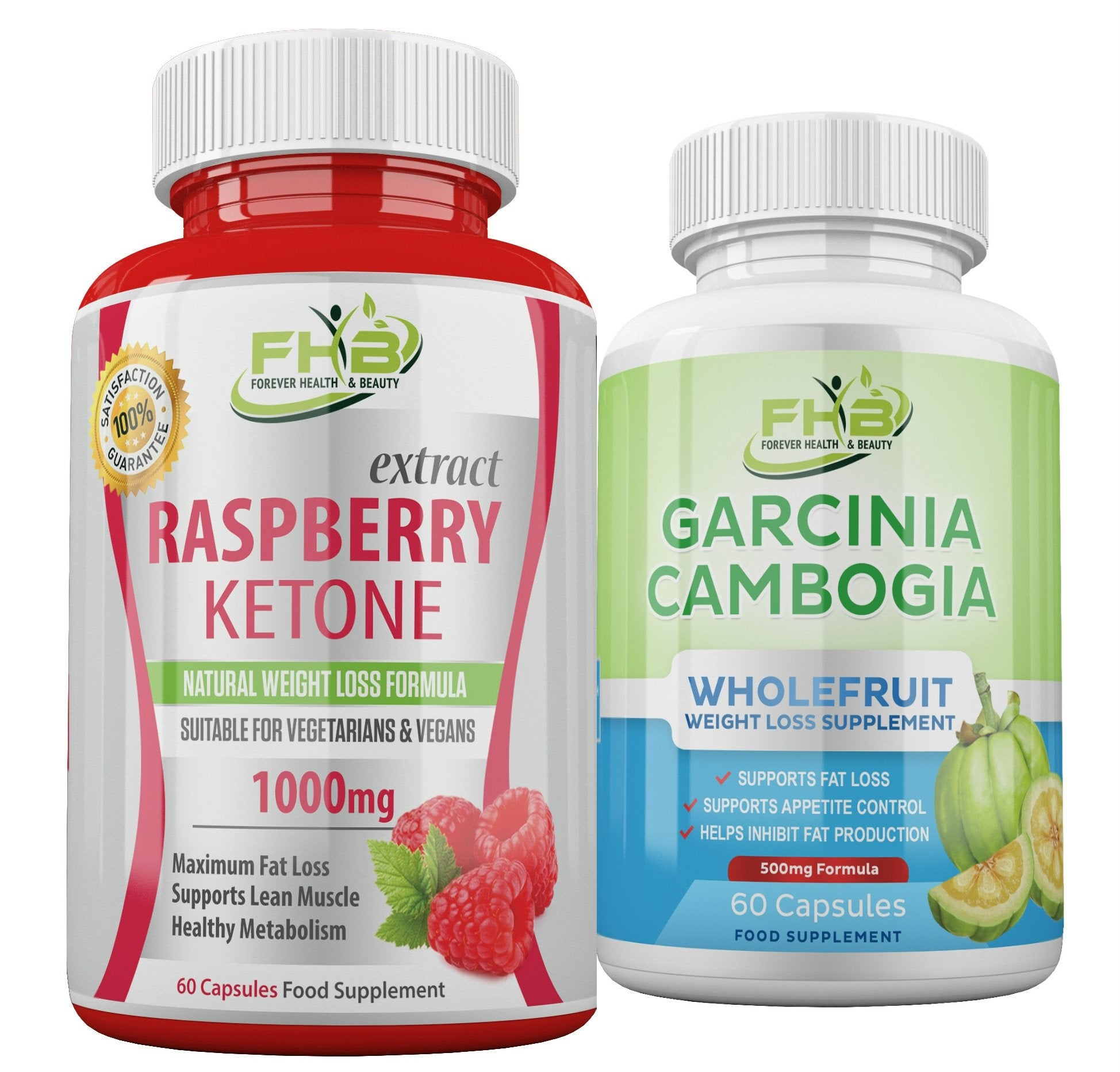 Carcinia Cambogia & Raspberry Ketone Weight Loss Supplements Combo - 120 Capsules