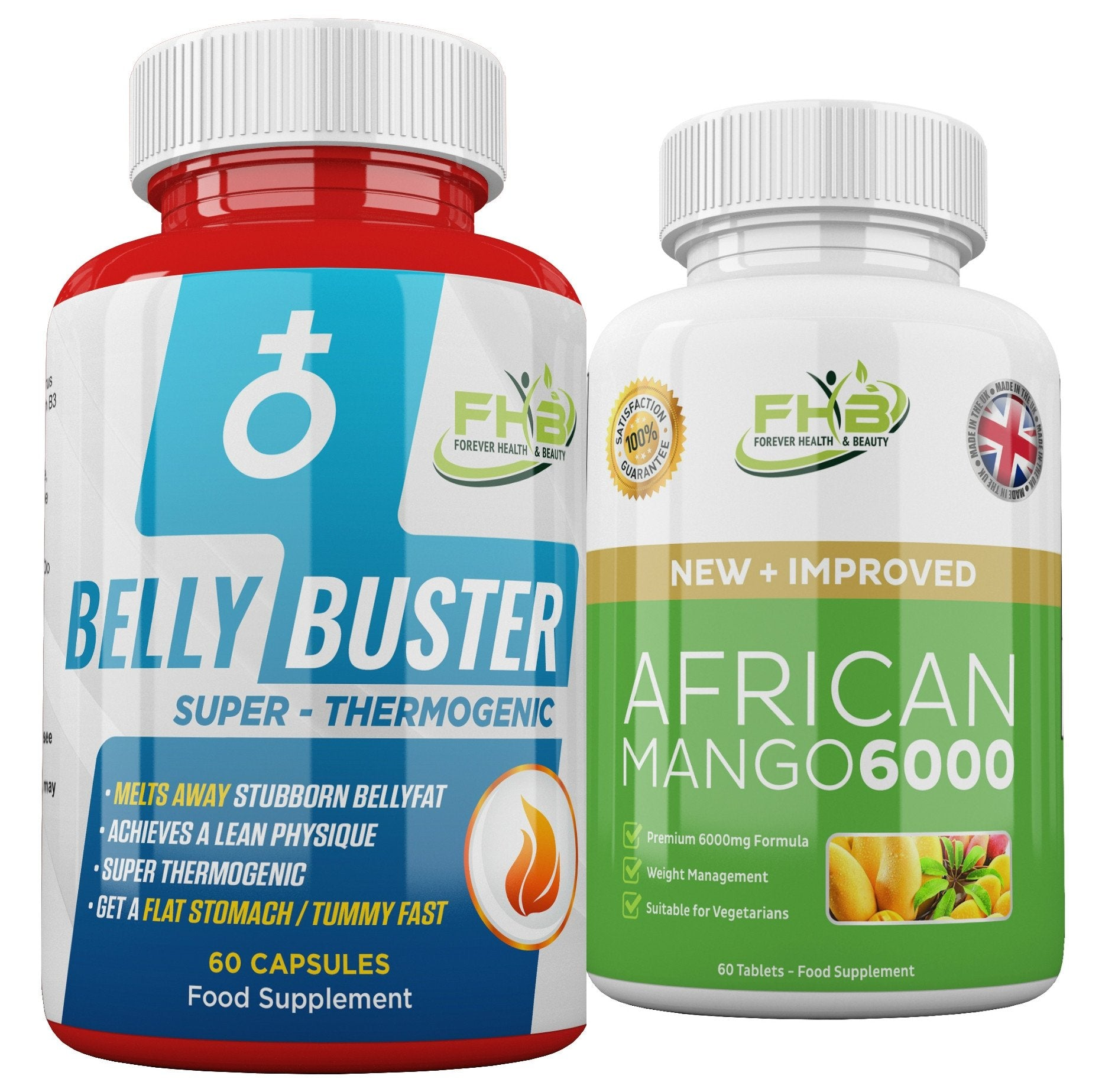 Belly Buster For Men & African Mango 6000 Combo - 120 Capsules