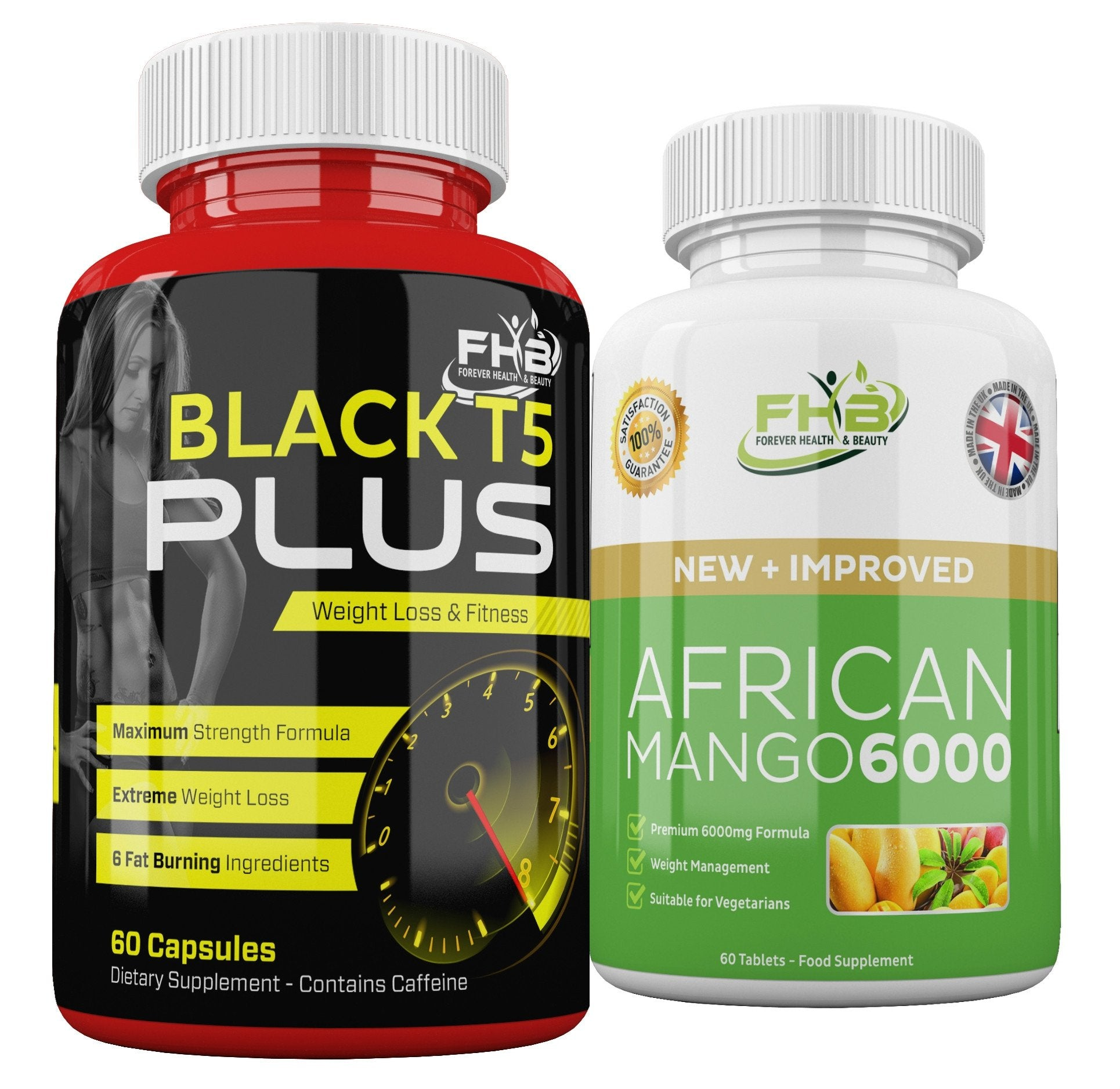 Black T5 Plus & African Mango 6000 Weight Loss & Fitness Combo - 120 Capsules