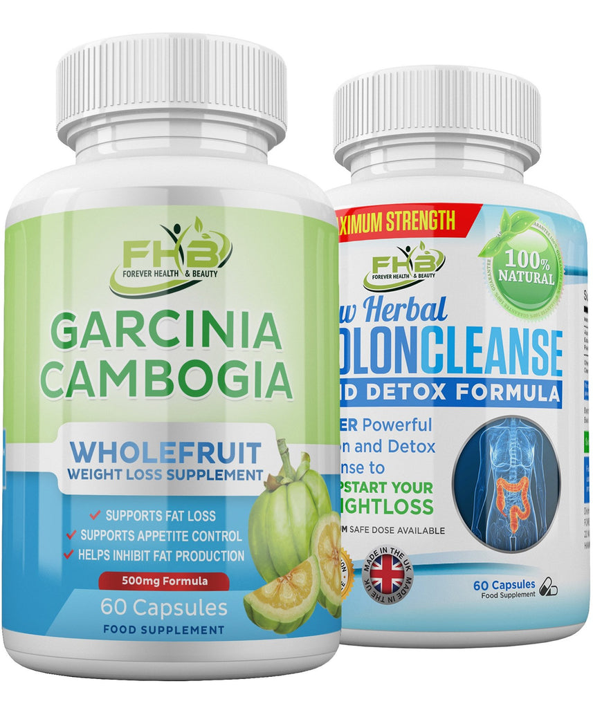 Carcinia Cambogia & Colon Cleanse Combo - Weight Loss Supplement & Detox - 120 Capsules Combo