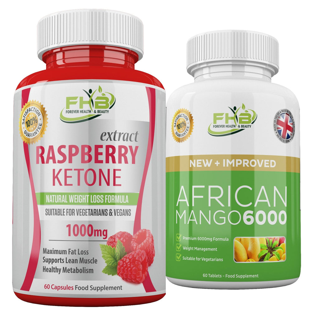 Raspberry Ketone & African Mango 6000 -  Super Fat Burning Combo - 120 Capsules