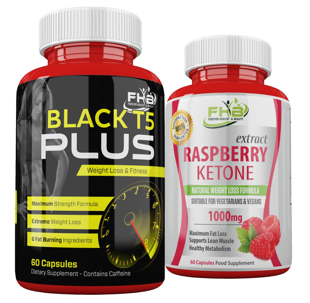 Raspberry Ketone & Black T5 Plus Weight Loss & Fitness Combo - 120 Capsules