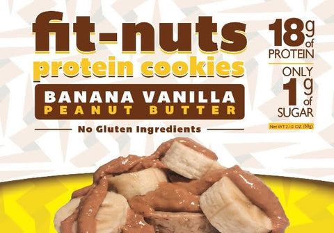 Fit-Nuts Protein Cookies - Banana Vanilla - 6 Pack (FREE SHIPPING)