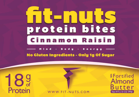 FIT-NUTS Protein Bites - Cinnamon Raisin Almond Butter ~ 12 Pack (FREE SHIPPING)