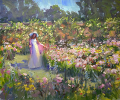 Winsome garden fine art oil painting Kristina Sellers