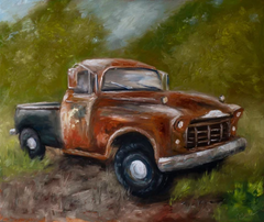 original oil painting old truck fall decor