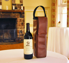 rust colored insulated wine bag