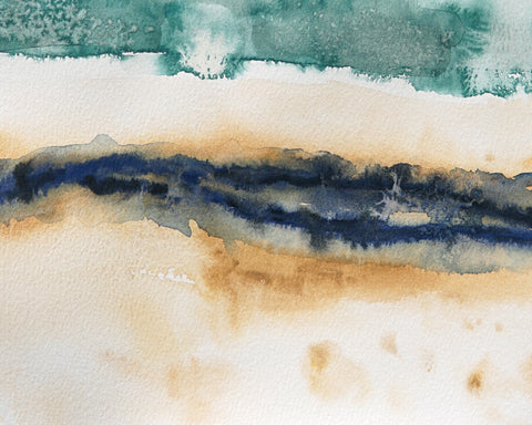 Original Abstract Coastal Watercolor Landscape Painting on Paper - Beach