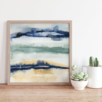 Original Abstract Coastal Watercolor Landscape Painting on Paper - Beach 2
