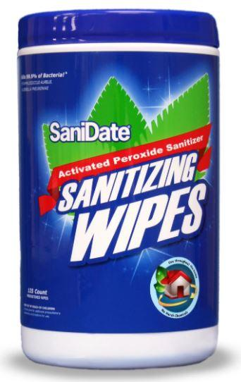 125 Sanidate® Disinfecting Wipes - 1 canisters of 125 wipes - Kills 99.9% of bacteria -  EPA registered - Made in USA - Brooklyn Equipment