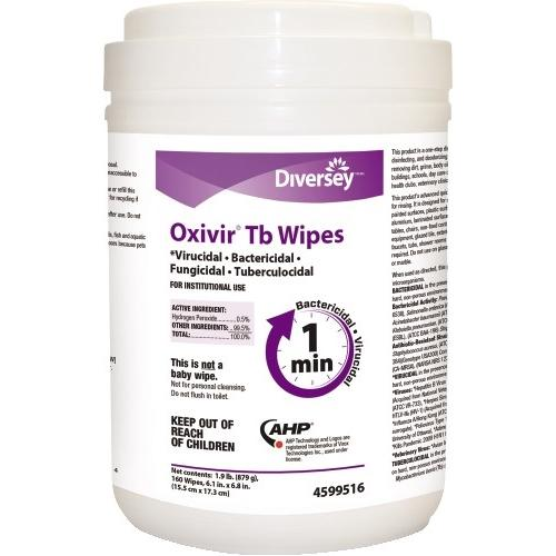 160 Diversey Oxivir TB Disinfecting Wipes - 1 canisters of 160 wipes - Per CDC kills Covid-19 - EPA registered - Made in USA - Brooklyn Equipment