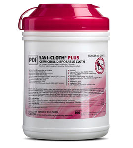Wipes - 160 Sani-Cloth Plus Germicidal Disposable Cloth - 1 Canister Of 160 Wipes - Kills Covid 19 - On CDC List N