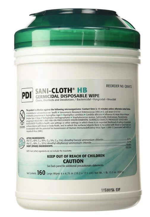 Wipes - 160 Sani-Cloth Plus Germicidal Disposable Cloth - 1 Canister Of 160 Wipes - Kills Pandemic 2009 H1N1 Influence Virus - Made In USA