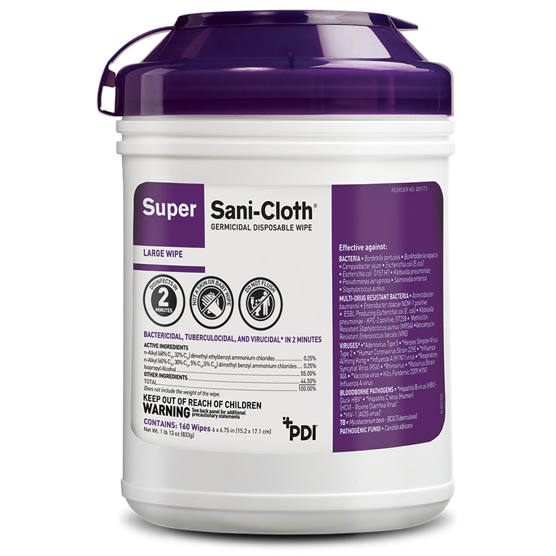 Wipes - 160  Super Sani-Cloth Germicidal Disposable Cloth - 1 Canister Of 160 Wipes - Kills Covid 19 - On CDC List N