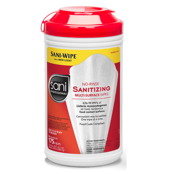 Wipes - 175 Sani Professional No-Rinse Sanitizing Wipes - 1 Canisters Of 175 Wipes - Kills 99.999%  -   EPA Registered - Made In USA
